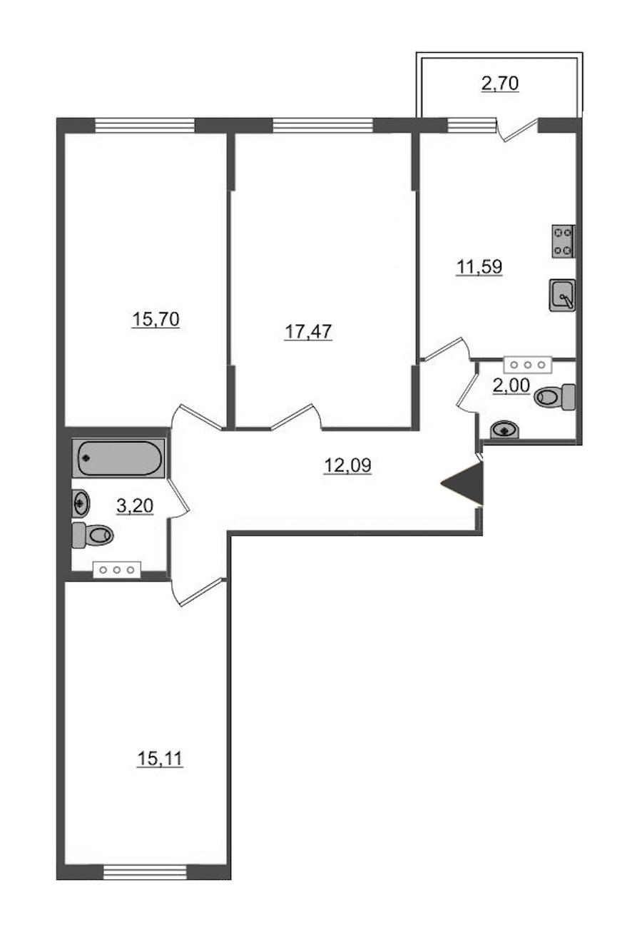 3-комнатная 77 м<sup>2</sup> на 5 этаже