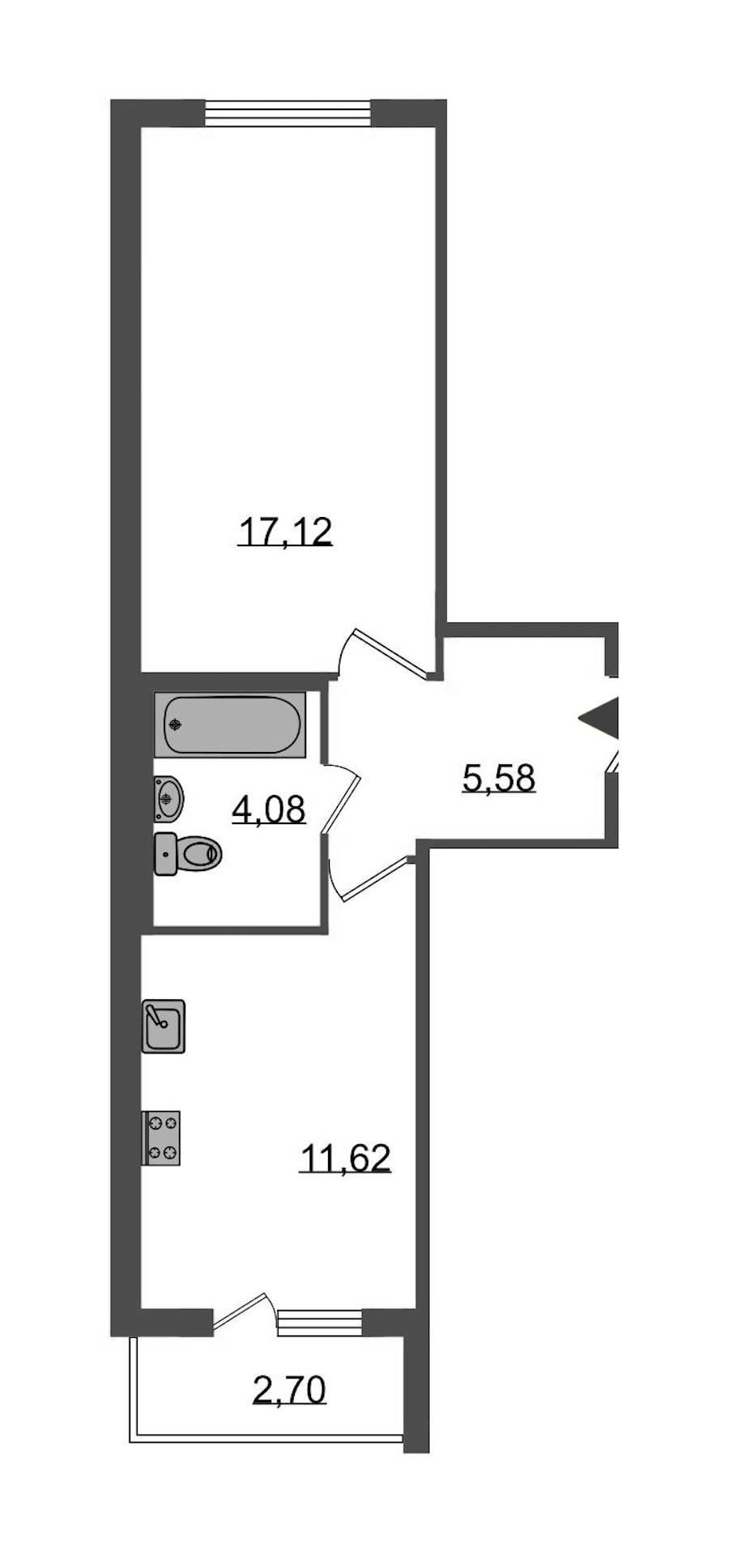 1-комнатная 39 м<sup>2</sup> на 1 этаже