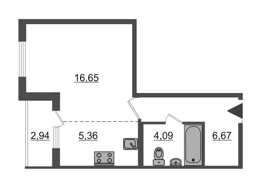 Студия 34 м<sup>2</sup> на 1 этаже