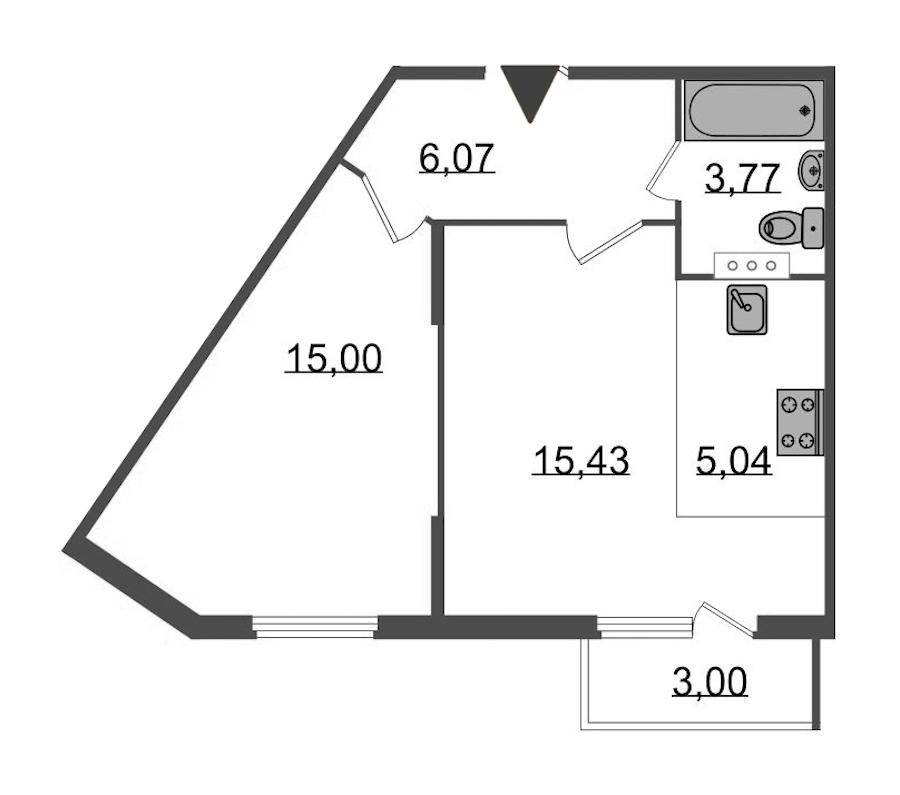 1-комнатная 46 м<sup>2</sup> на 4 этаже