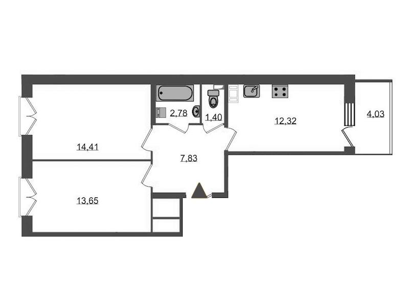 2-комнатная 53 м<sup>2</sup> на 5 этаже
