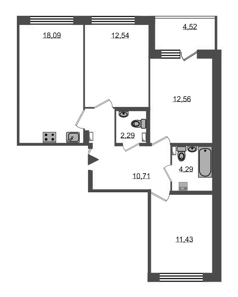 3-комнатная 74 м<sup>2</sup> на 2 этаже