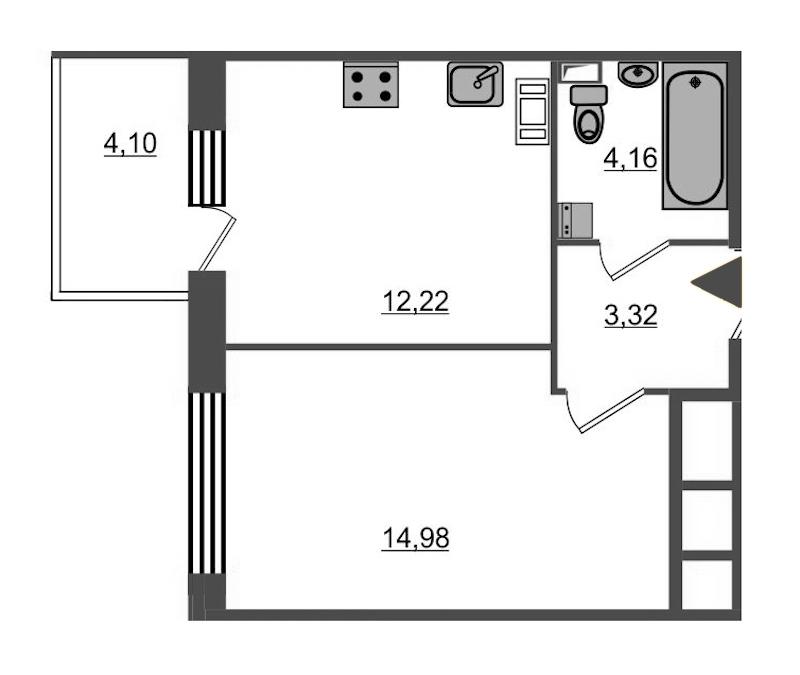 1-комнатная 35 м<sup>2</sup> на 4 этаже