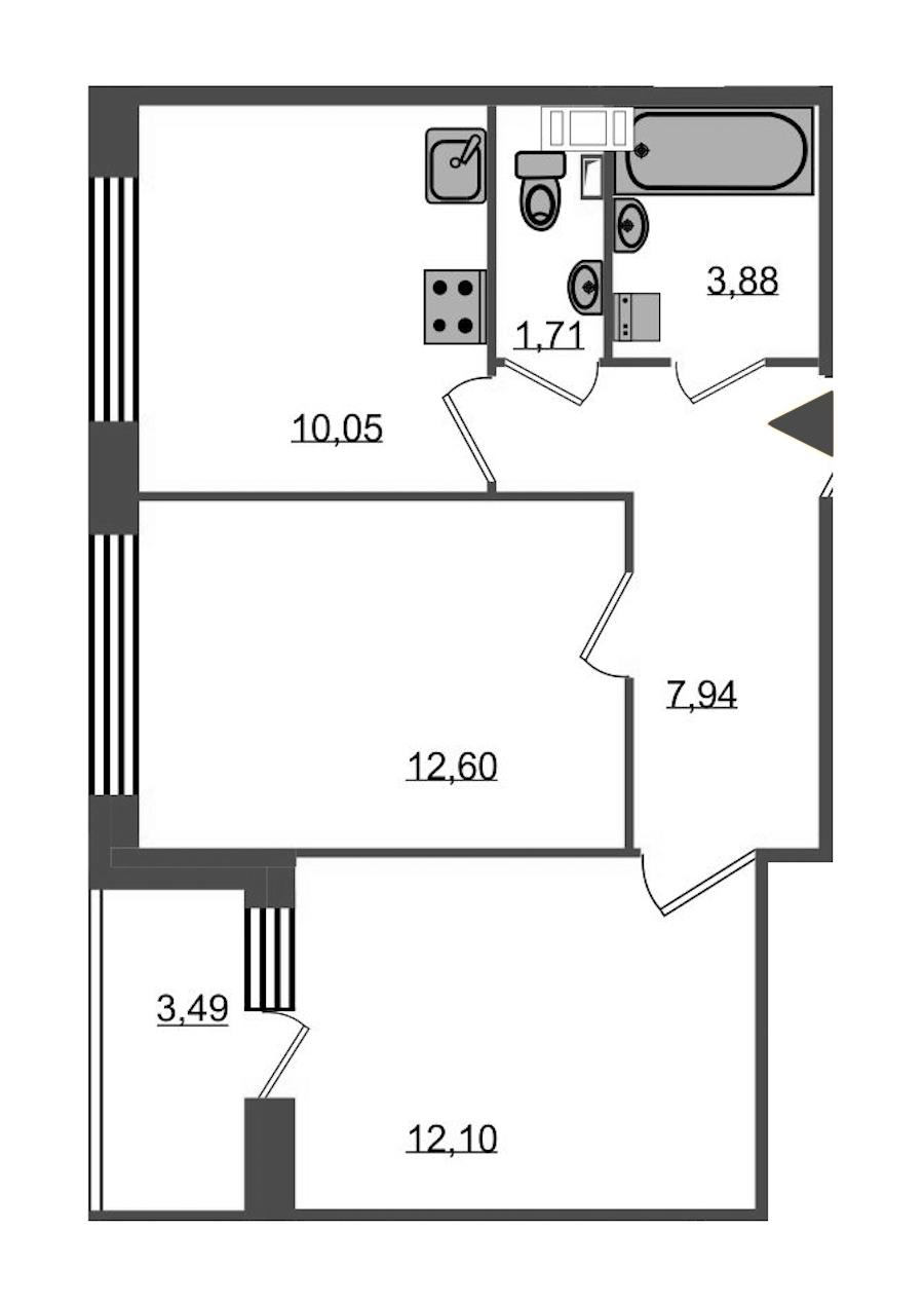 2-комнатная 50 м<sup>2</sup> на 4 этаже