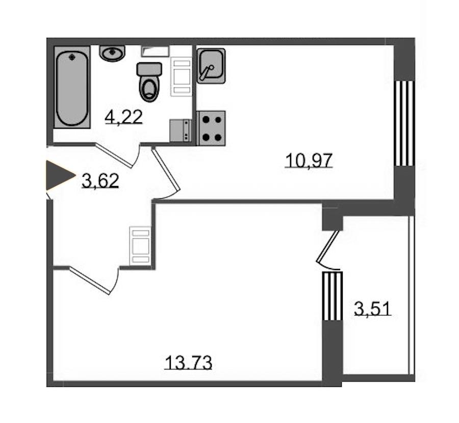 1-комнатная 34 м<sup>2</sup> на 4 этаже