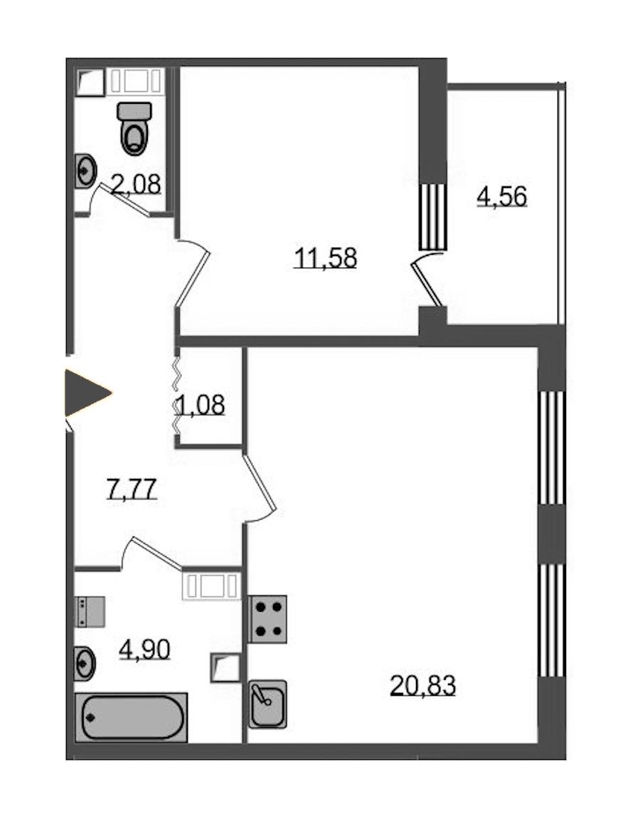 1-комнатная 50 м<sup>2</sup> на 5 этаже