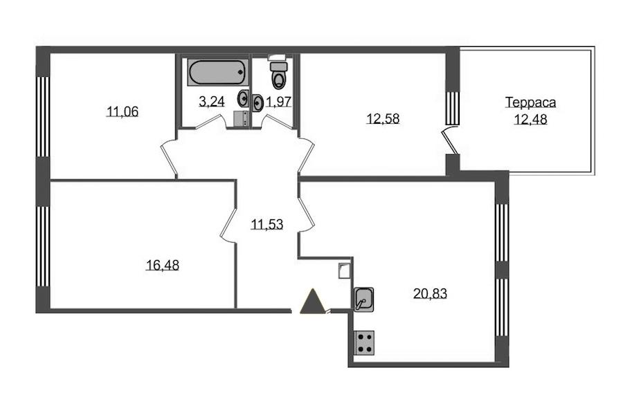 3-комнатная 81 м<sup>2</sup> на 1 этаже