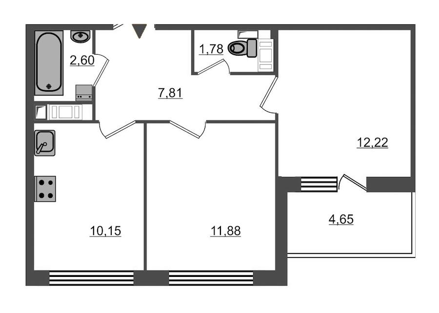 2-комнатная 48 м<sup>2</sup> на 5 этаже