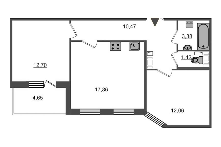 2-комнатная 60 м<sup>2</sup> на 3 этаже