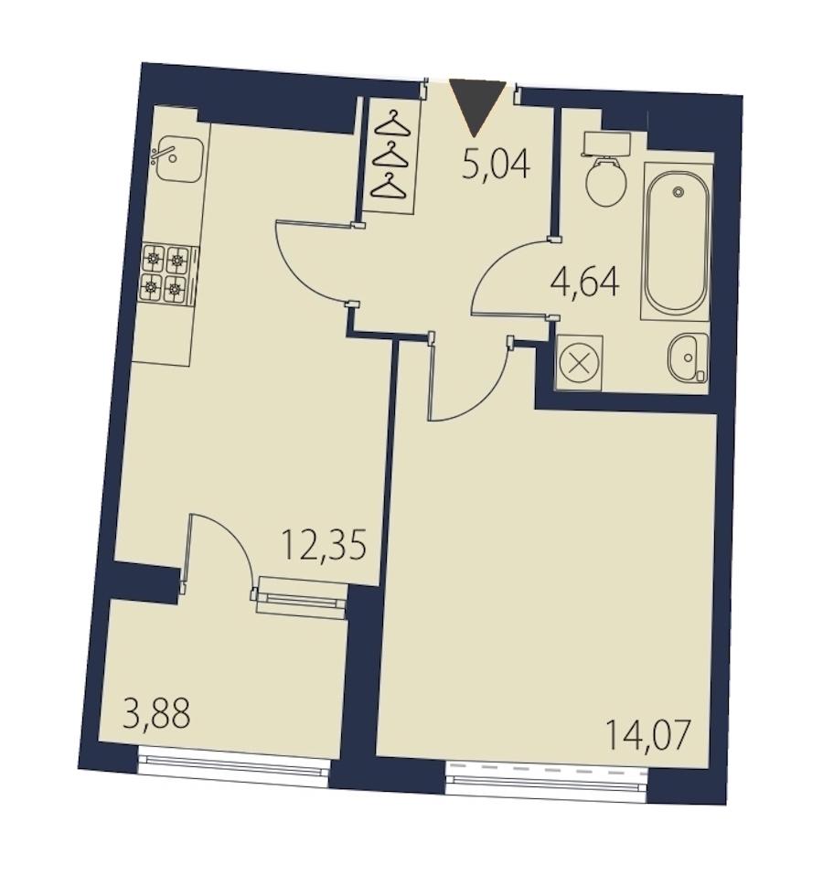1-комнатная 38 м<sup>2</sup> на 18 этаже