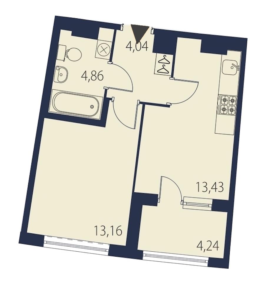 1-комнатная 37 м<sup>2</sup> на 6 этаже