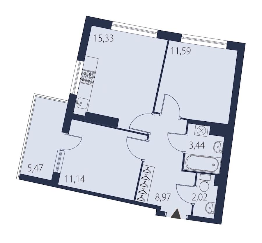 2-комнатная 54 м<sup>2</sup> на 24 этаже
