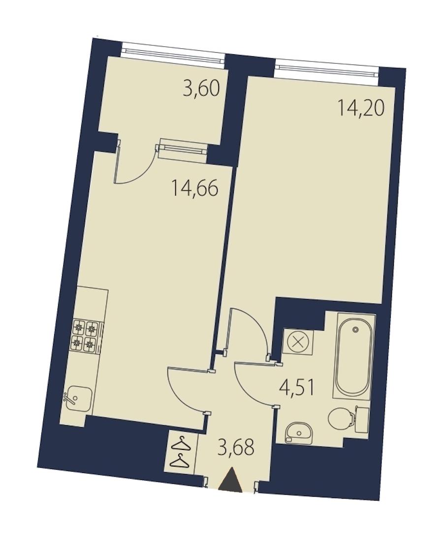 1-комнатная 38 м<sup>2</sup> на 24 этаже