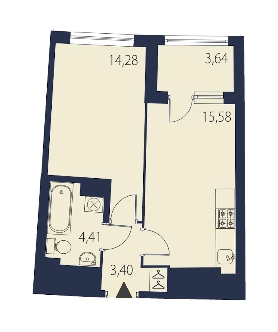1-комнатная 39 м<sup>2</sup> на 25 этаже