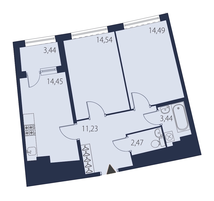 2-комнатная 62 м<sup>2</sup> на 14 этаже