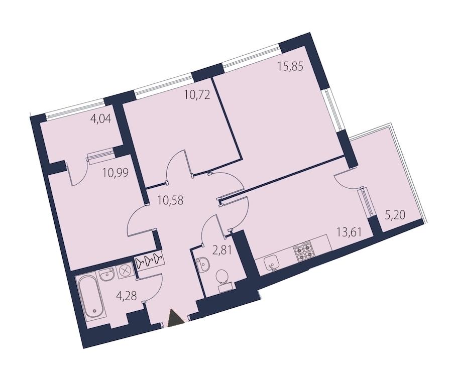 3-комнатная 72 м<sup>2</sup> на 23 этаже