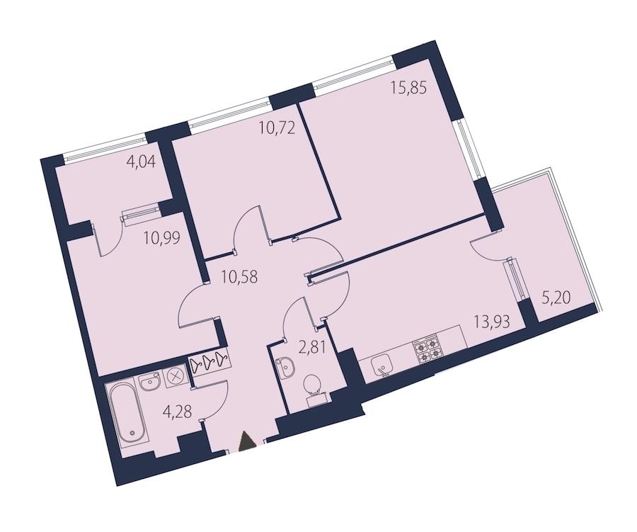 3-комнатная 72 м<sup>2</sup> на 14 этаже