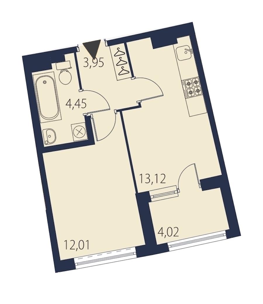 1-комнатная 35 м<sup>2</sup> на 13 этаже