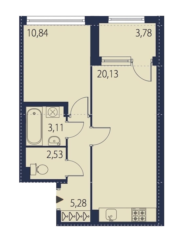 1-комнатная 43 м<sup>2</sup> на 2 этаже