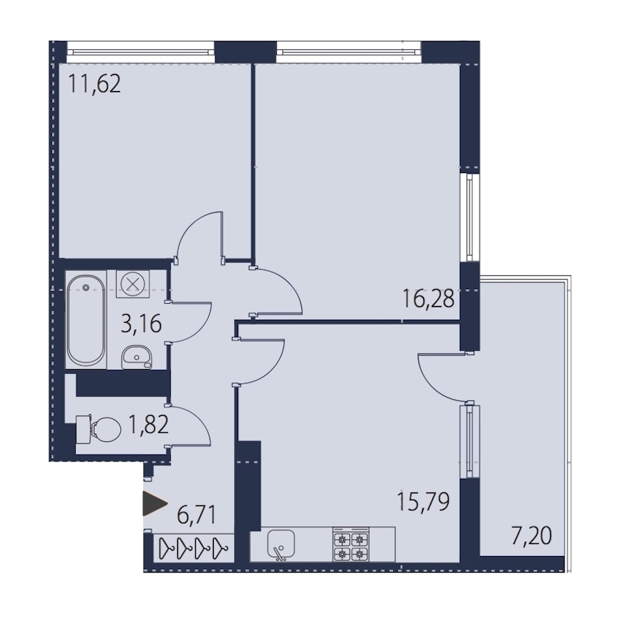 2-комнатная 57 м<sup>2</sup> на 23 этаже