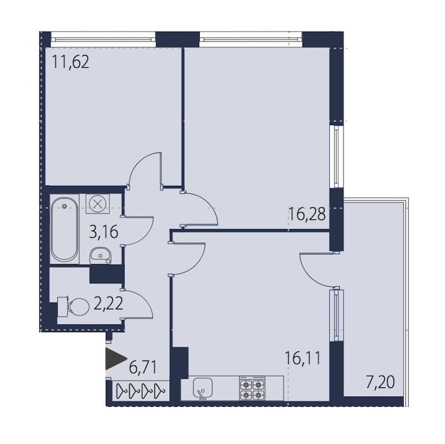 2-комнатная 58 м<sup>2</sup> на 11 этаже