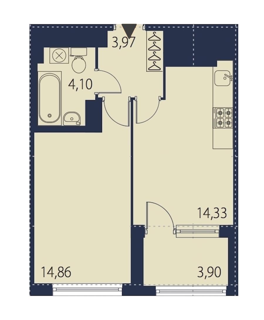 1-комнатная 39 м<sup>2</sup> на 26 этаже