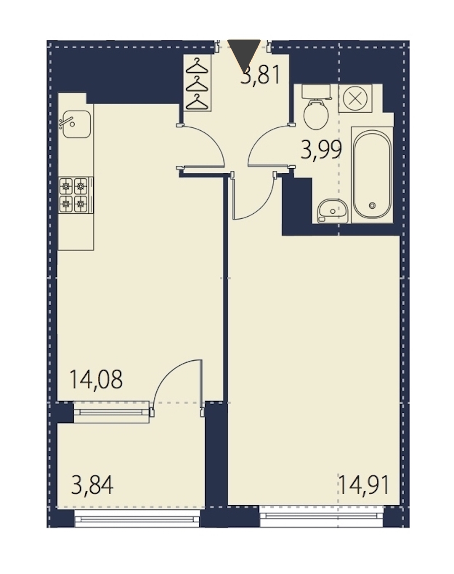 1-комнатная 38 м<sup>2</sup> на 26 этаже