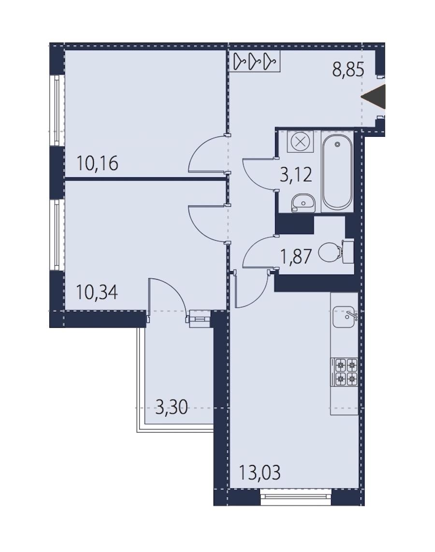 2-комнатная 49 м<sup>2</sup> на 21 этаже