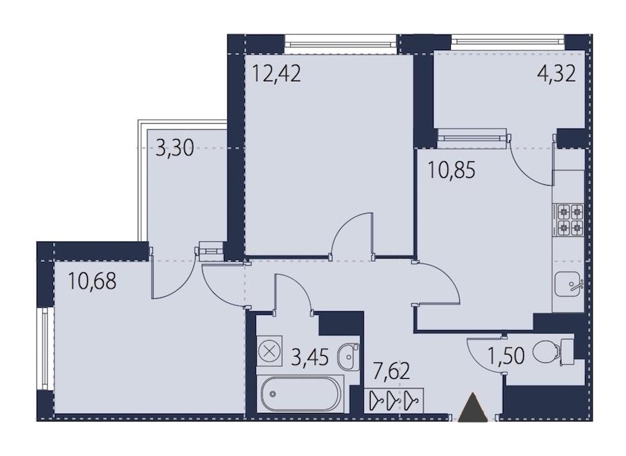2-комнатная 50 м<sup>2</sup> на 10 этаже