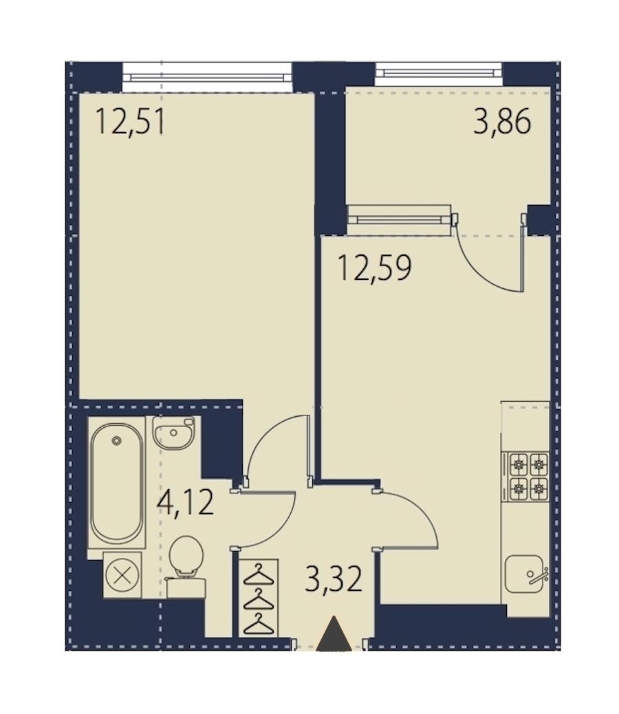 1-комнатная 34 м<sup>2</sup> на 27 этаже
