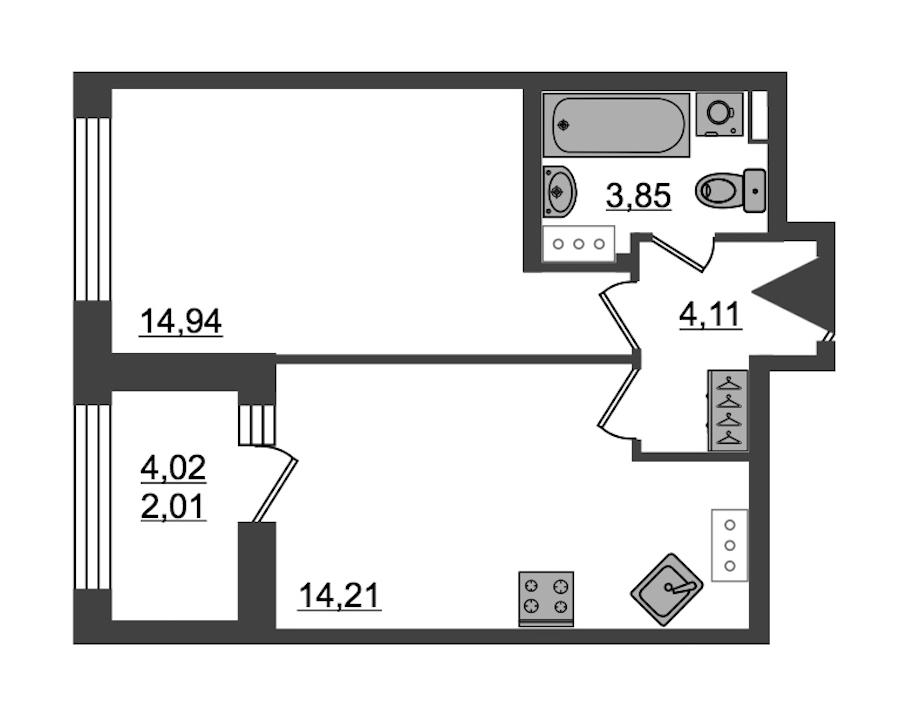 1-комнатная 39 м<sup>2</sup> на 14 этаже