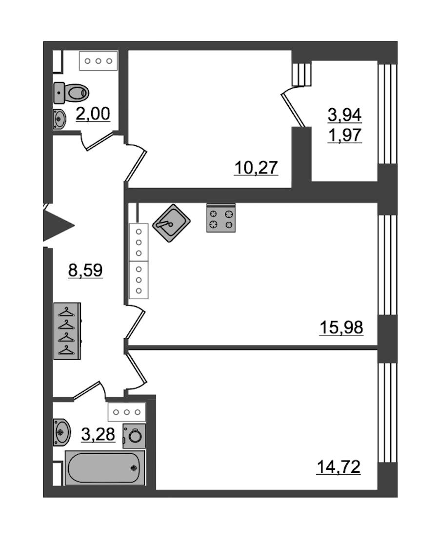 2-комнатная 56 м<sup>2</sup> на 27 этаже