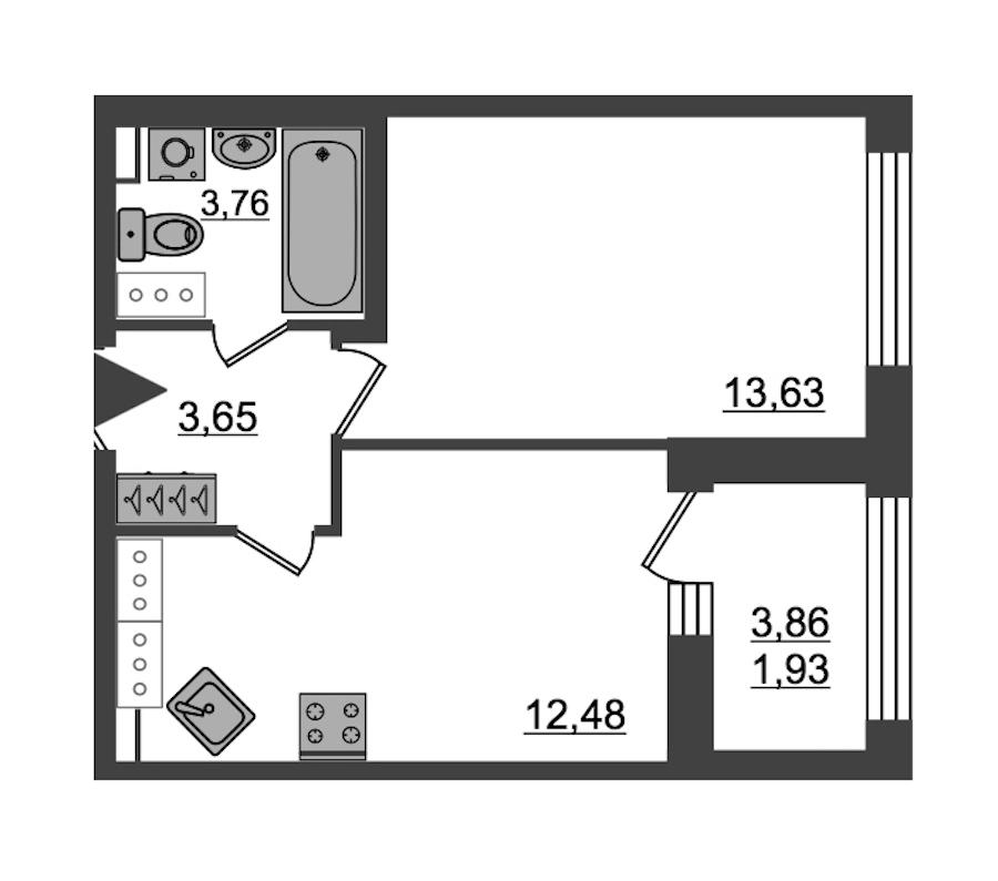 1-комнатная 35 м<sup>2</sup> на 27 этаже