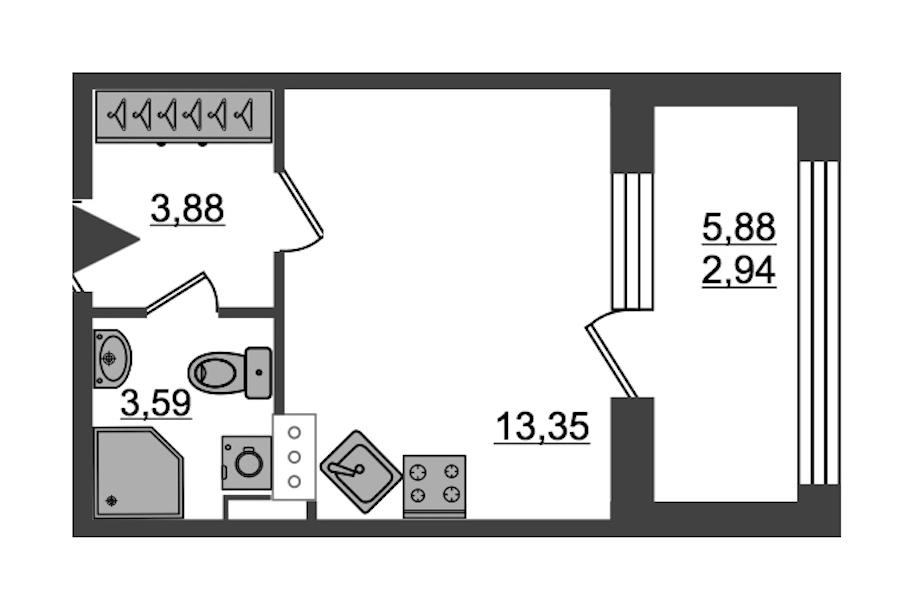 Студия 23 м<sup>2</sup> на 14 этаже