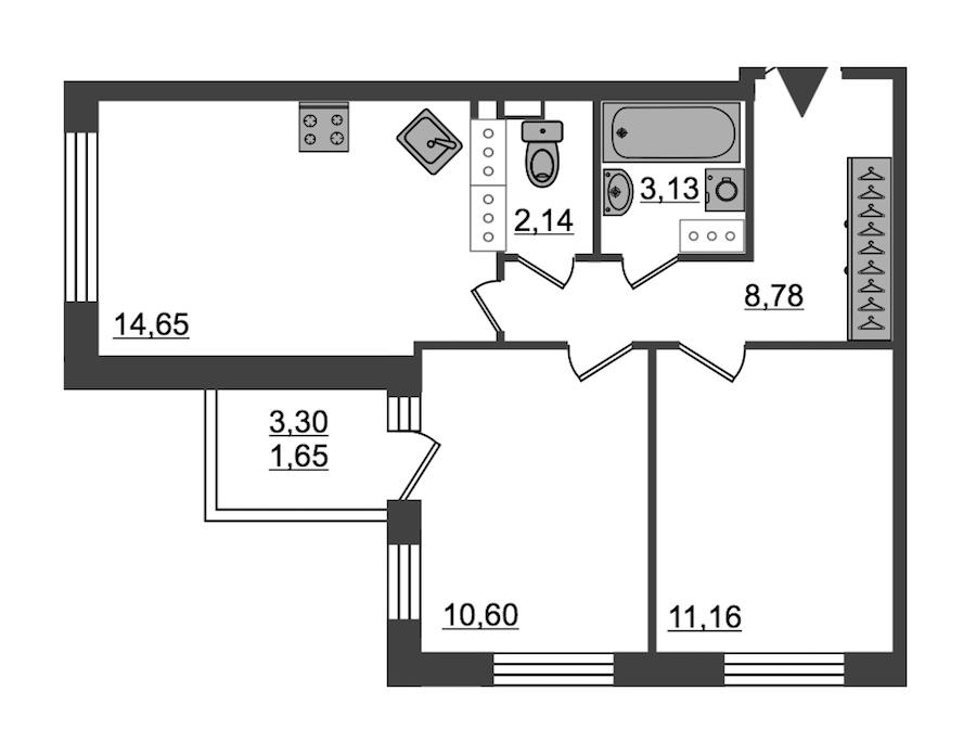 2-комнатная 52 м<sup>2</sup> на 27 этаже