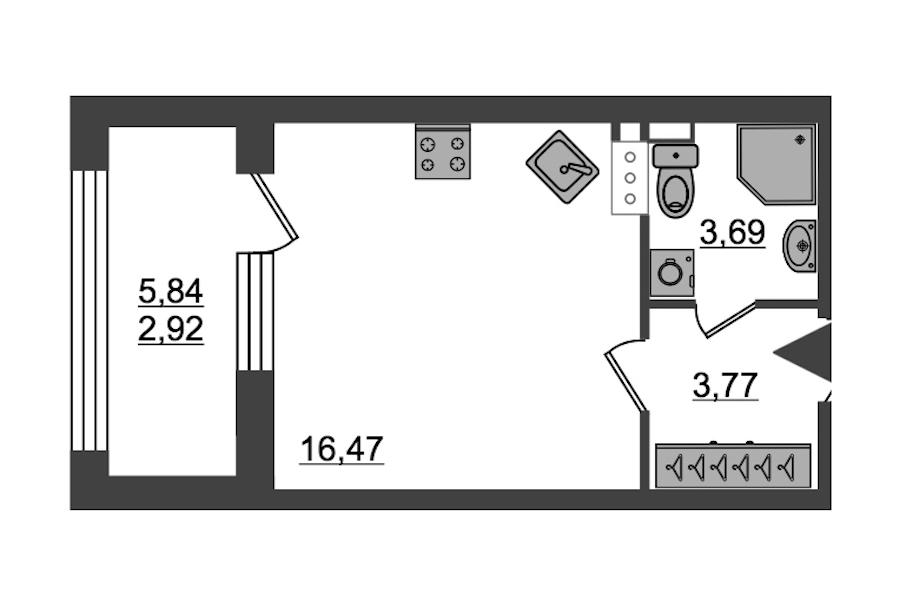 Студия 26 м<sup>2</sup> на 13 этаже
