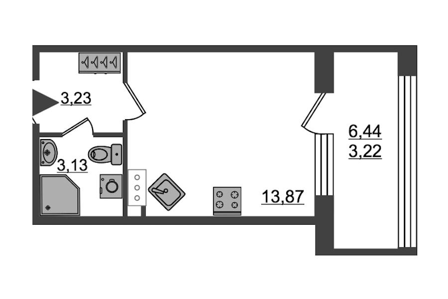 Студия 23 м<sup>2</sup> на 3 этаже