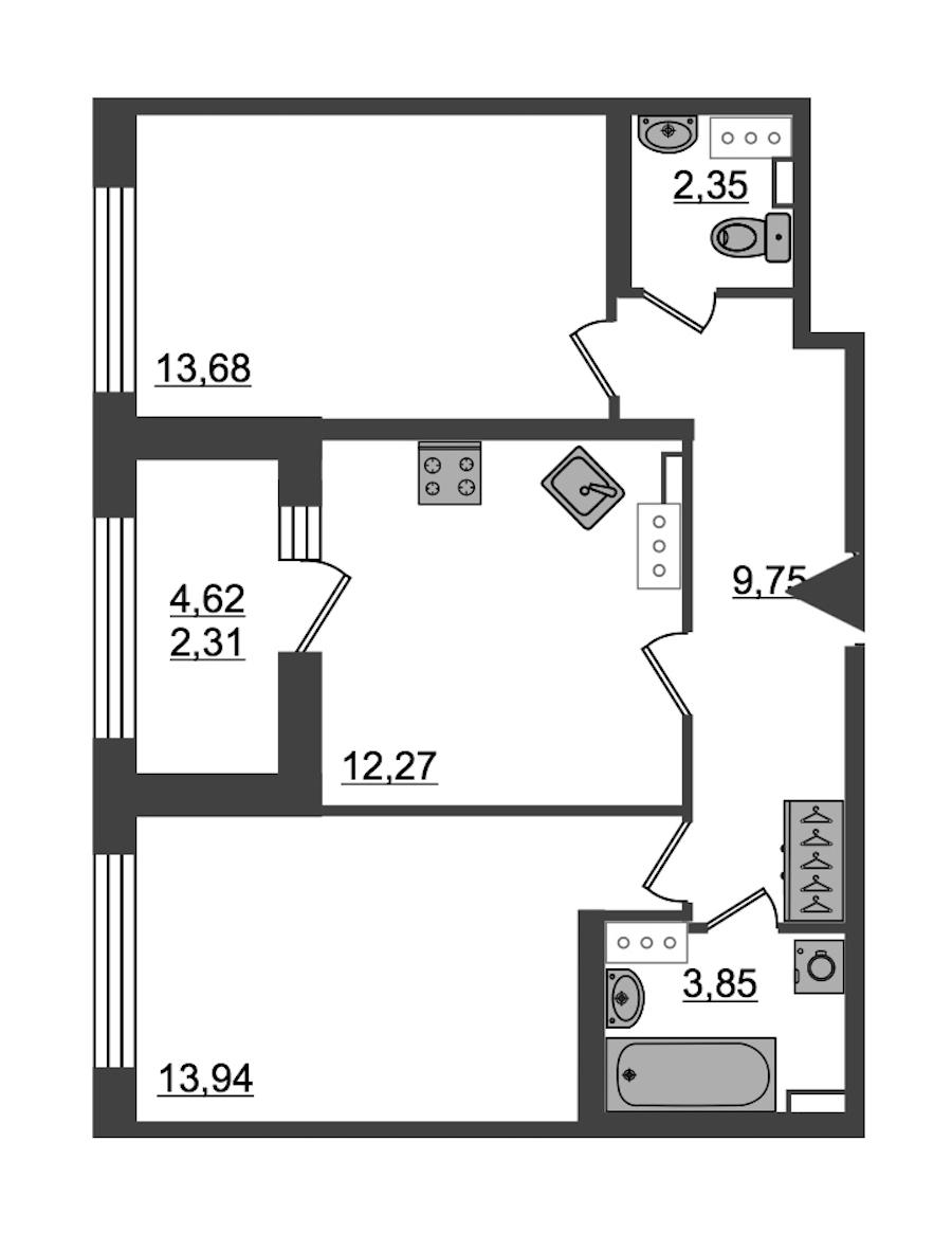 2-комнатная 58 м<sup>2</sup> на 14 этаже