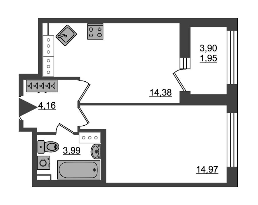 1-комнатная 39 м<sup>2</sup> на 27 этаже