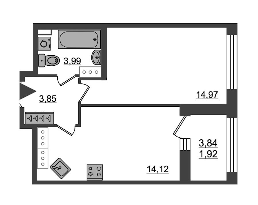 1-комнатная 38 м<sup>2</sup> на 27 этаже