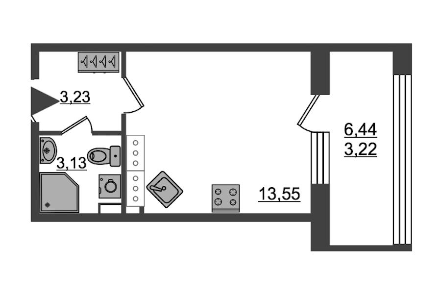 Студия 23 м<sup>2</sup> на 27 этаже