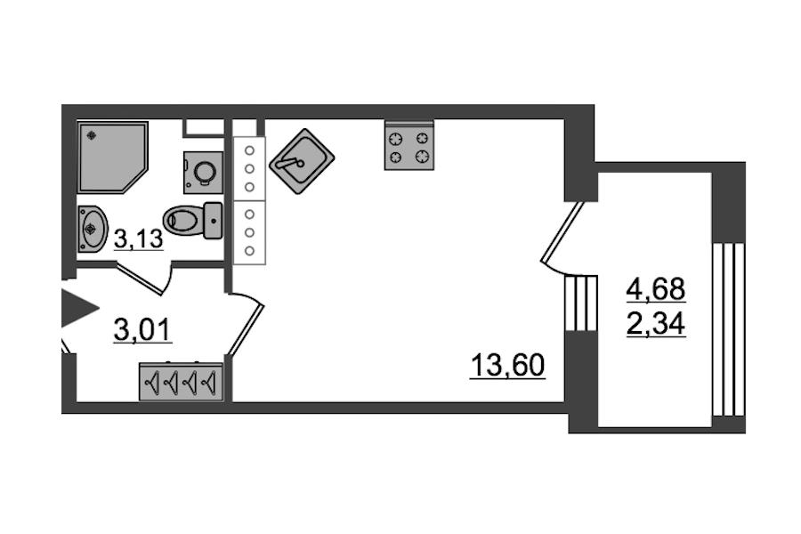 Студия 22 м<sup>2</sup> на 26 этаже