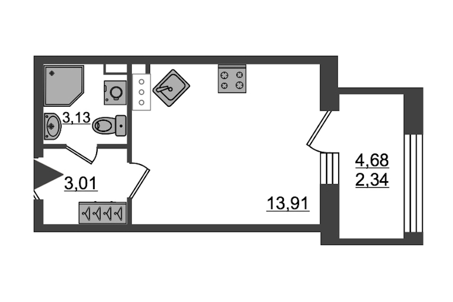 Студия 22 м<sup>2</sup> на 14 этаже