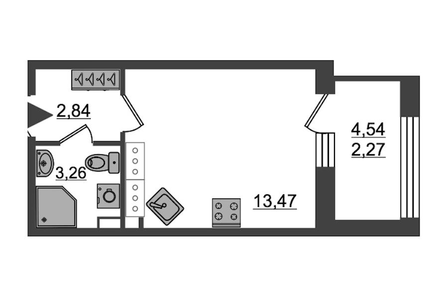 Студия 21 м<sup>2</sup> на 27 этаже
