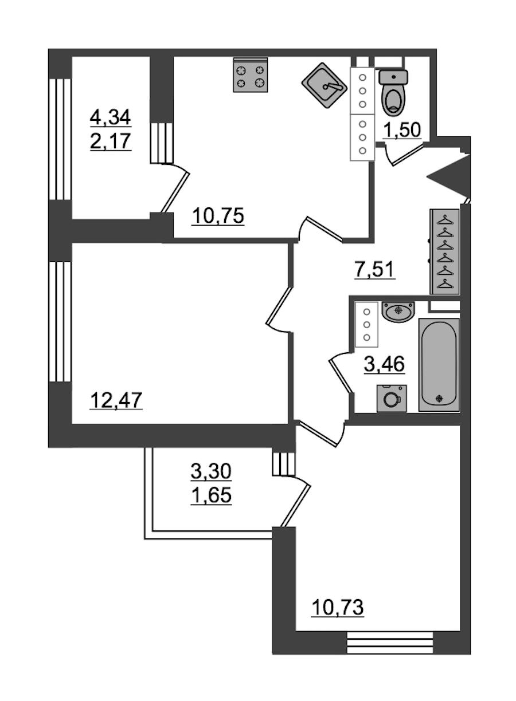 2-комнатная 50 м<sup>2</sup> на 27 этаже