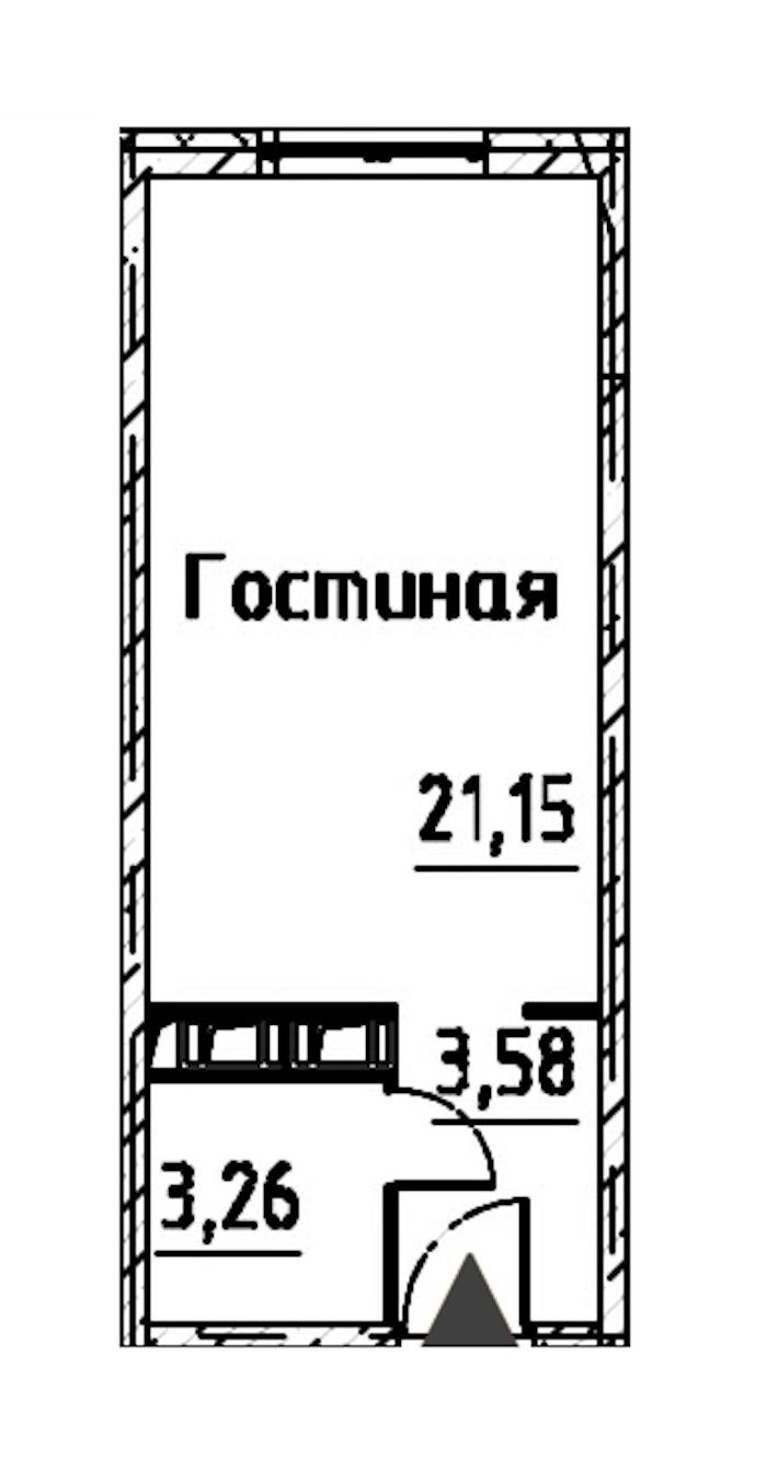 Студия 27 м<sup>2</sup> на 22 этаже