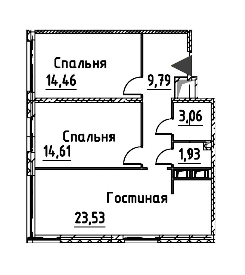 3-комнатная 67 м<sup>2</sup> на 21 этаже