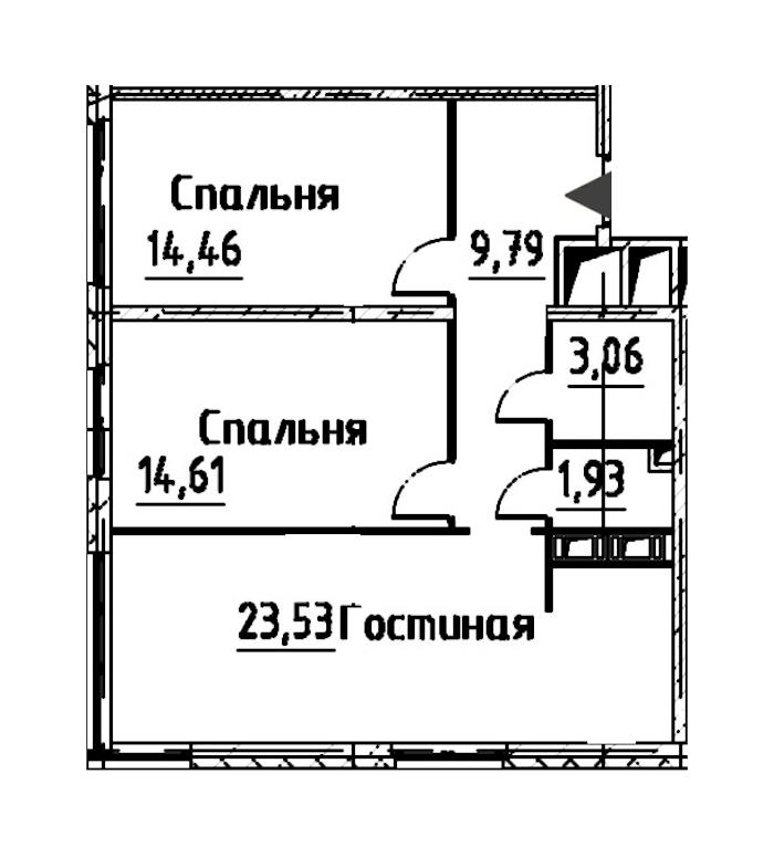 3-комнатная 67 м<sup>2</sup> на 22 этаже