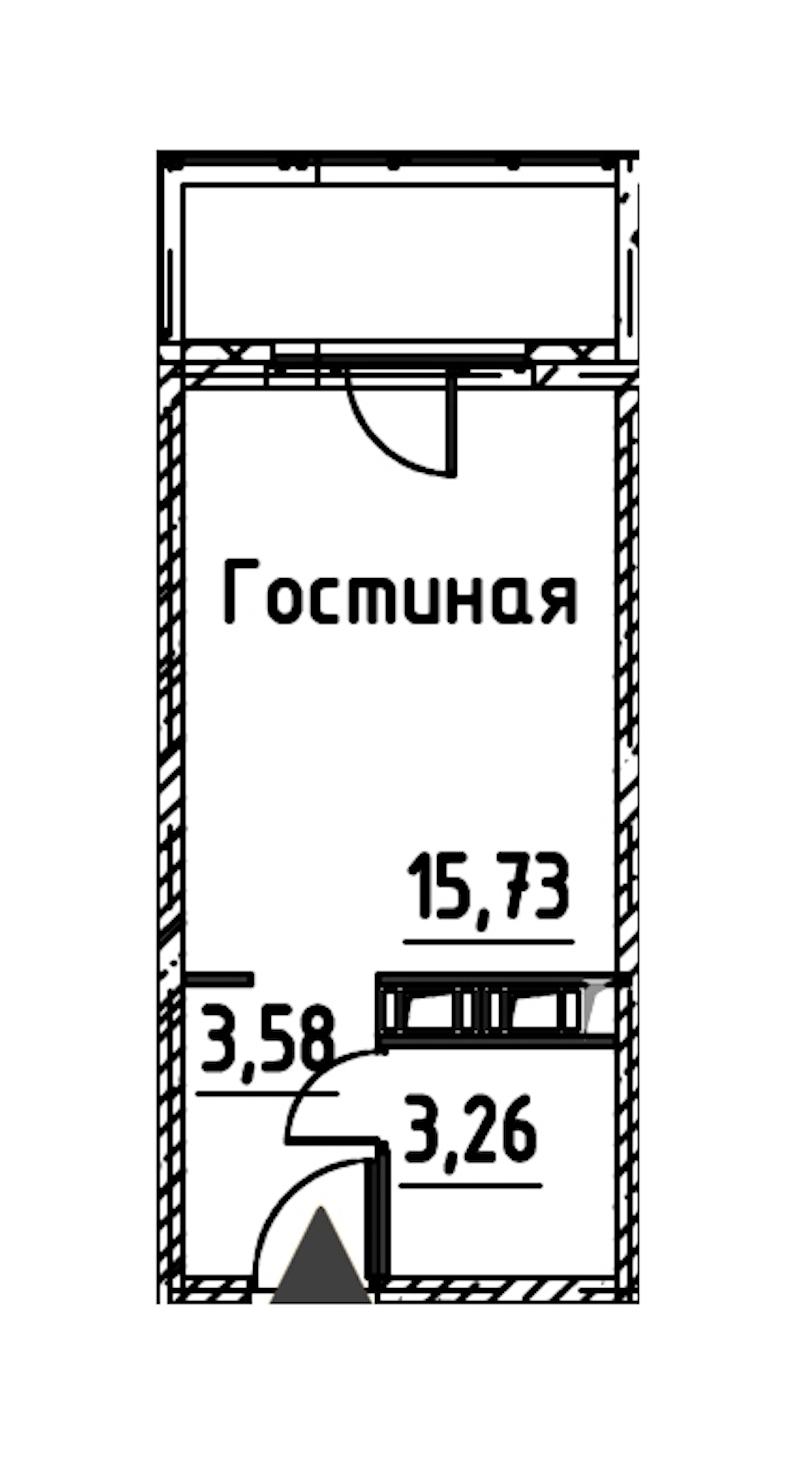 Студия 22 м<sup>2</sup> на 21 этаже