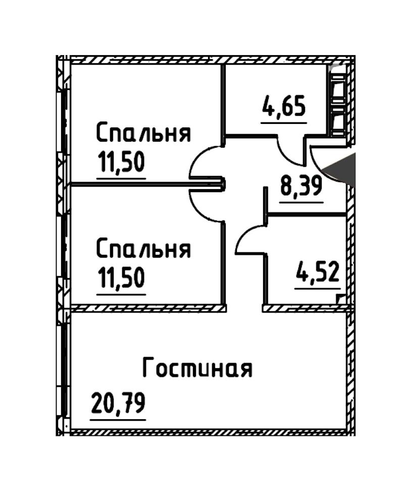 3-комнатная 61 м<sup>2</sup> на 21 этаже